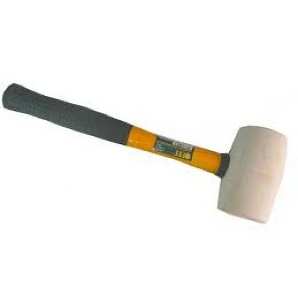 Киянка резиновая 450гр белая резина фибеглас.ручка HARDAX