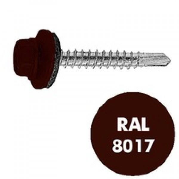 Саморез кровельный RAL-8017 ZP кор 4.8*35