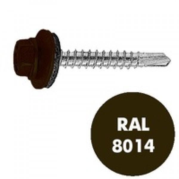 Саморез кровельный RAL-8014 ZP тем/кор 4.8*35