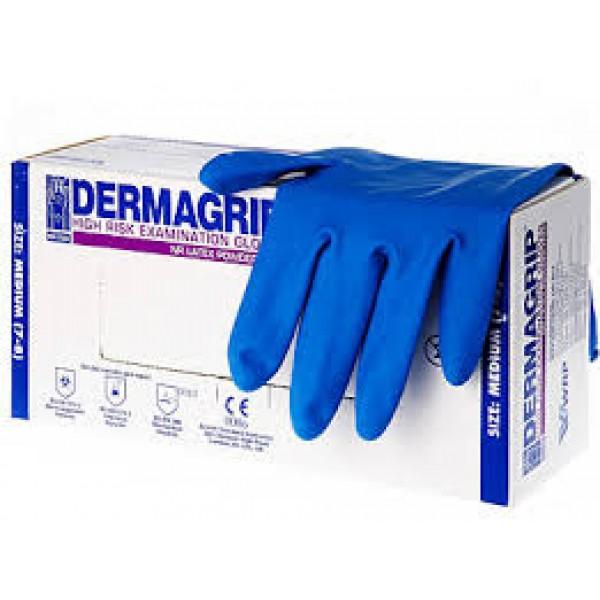 Перчатки резиновые синие  L DERMAGRIP (1уп-25пар)