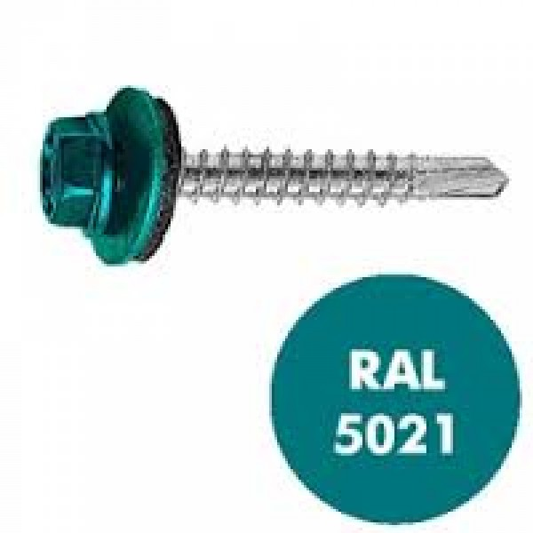 Саморез кровельный RAL-5021 ZP син/вода 4,8х35