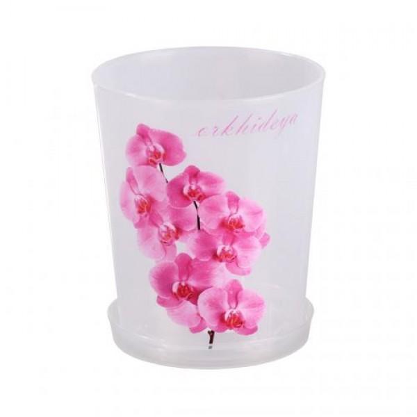 Горшок цв. для орхидеи 1,2л.с под.(прозрач.) М1603