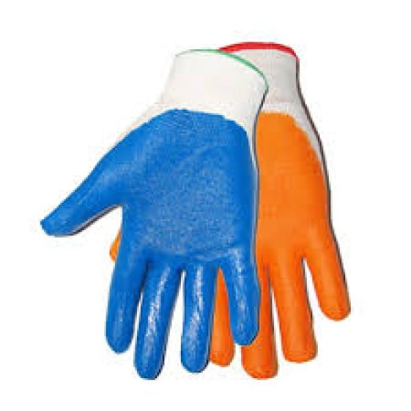 Перчатки нейлоновые нитриловое покрытие синяя полоска