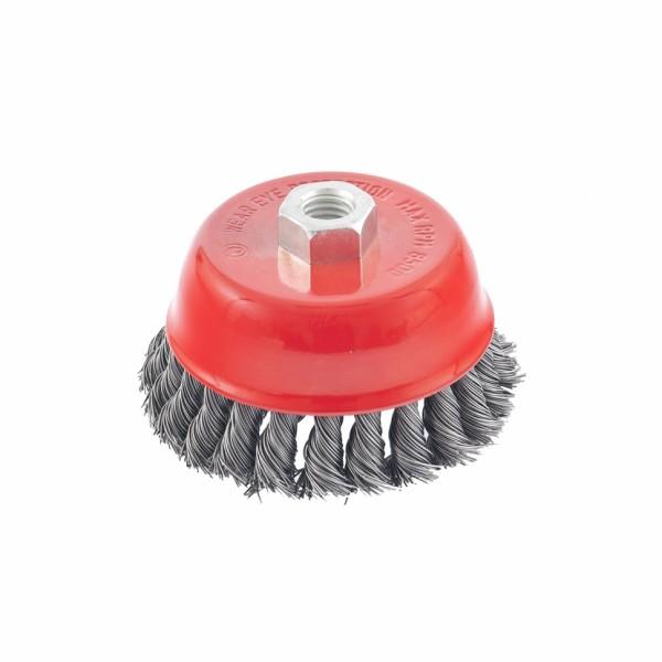 Щетка для УШМ (чашка) 150мм/М14 крученая, сталь (048F0235)