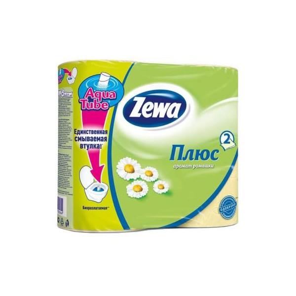 Туалеткая бумага Zewa Плюс 4рулона 2-х слойная аромат ромашки