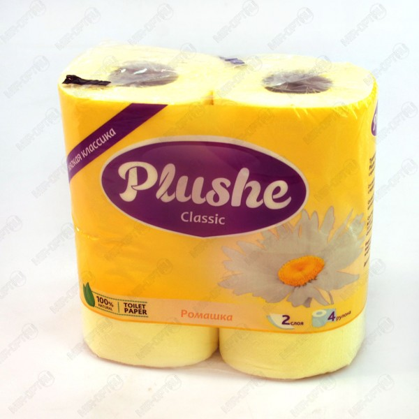 Туалетная бумага Plushe 4рулона 2слоя ромашка