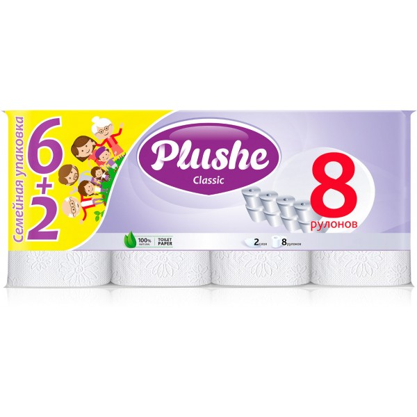 Туалетная бумага Plushe 8рулонов 2слоя Белая