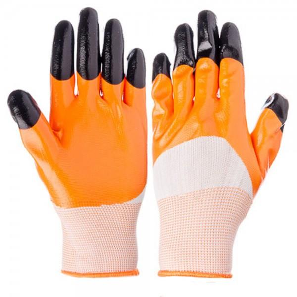 Перчатки нейлоновые оранж. облитые пальцы    12/600