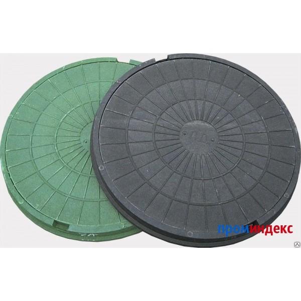 Люк канализ. (зелёный) полимерный 1,5 тонны с основанием в сборе d-74см ЛМ-15
