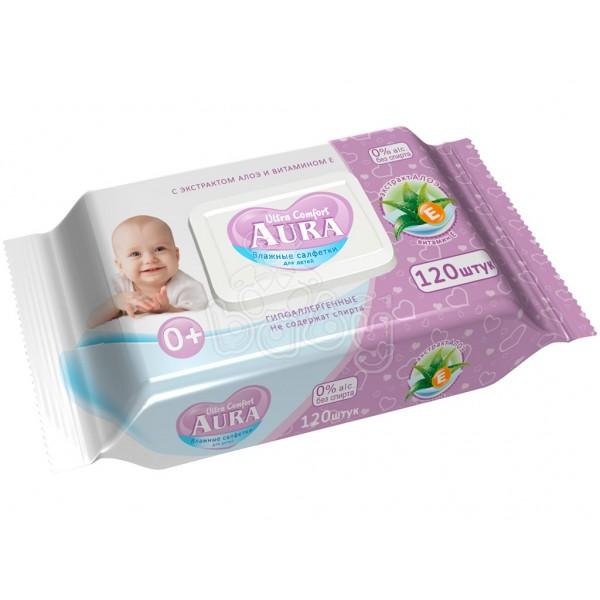 Влажные салфетки Аура детские  с крышкой 120шт