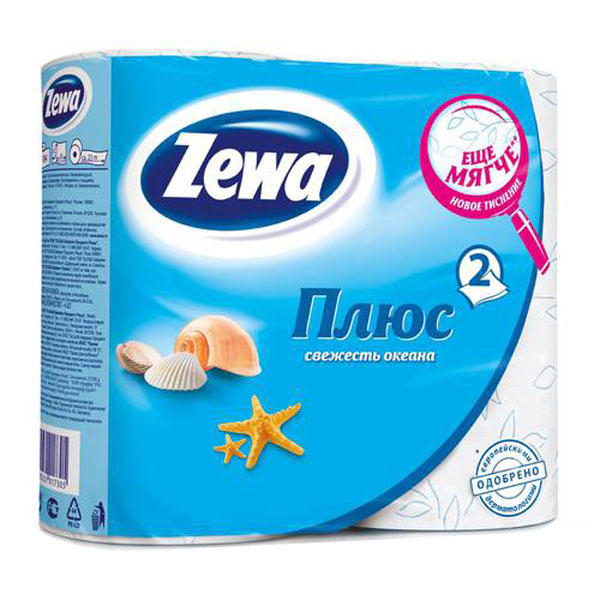 Туалетная бумага Zewa Плюс 4рулона 2-х слойная ОКЕАН