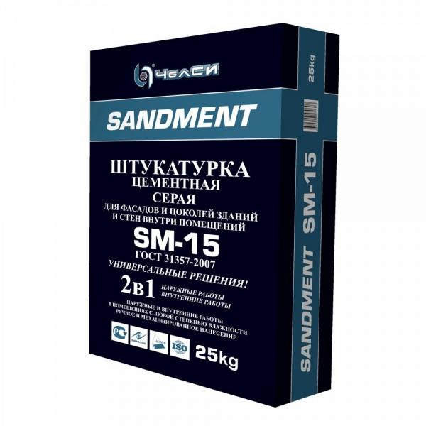 ЧелСИ Штукатурка цементная высокопрочная серая SANDMENT SM-15 25кг