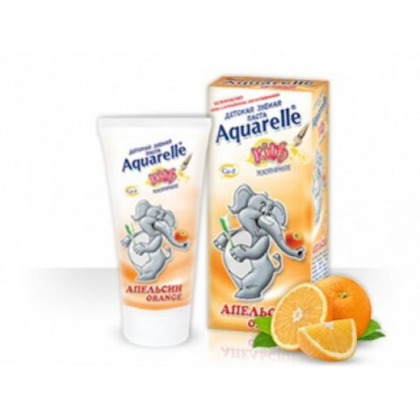 Детская зубная АКВАРЕЛЬ 50мл апельсин + шампунь 200 мл + цветные мелки