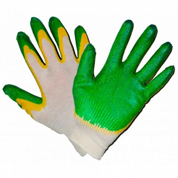 Перчатки х/б двойные обливные (нейлон, обивн.ладонь)