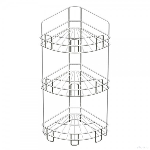 Полка для ванной угл. напольно-настенная 3-х ярусная краш (хром зеркальный)
