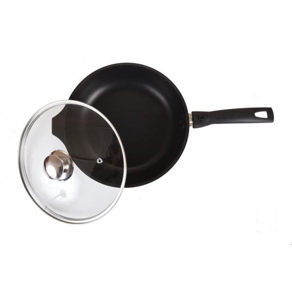 Сковорода (с225а) 220/50мм со съемной ручкой, стек.крышкой, антиприг. покр. литой ал. Кукмор