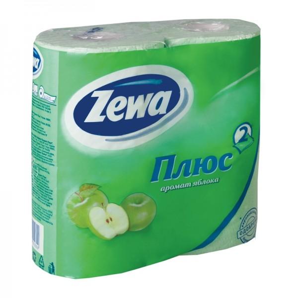 Туалетная бумага Zewa Плюс 4рулона 2-х слойная Зеленое яблоко