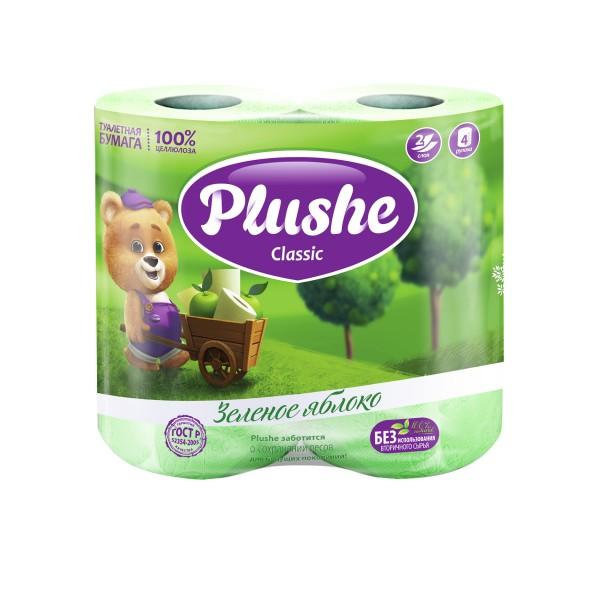 Туалетная бумага Plushe 4рулонов*18м Яблоко
