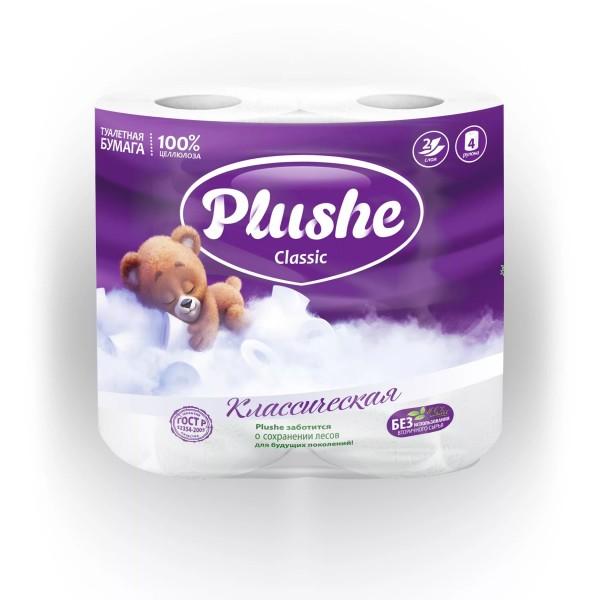 Туалетная бумага Plushe 4рулонов*18м Белая
