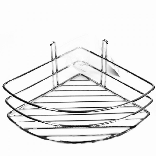 Полка  для ванной угл.1ярусн.хром глуб. (Старый Оскол)  5/5