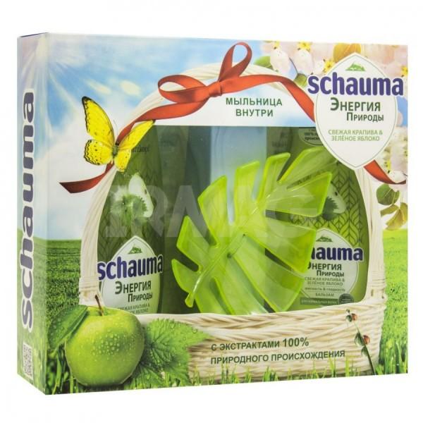 Набор Шаума Шампунь, Бальзам+ мыльница Свежая крапива и зел.яблоко