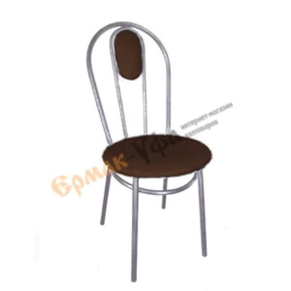 Стул Капля с спинкой шоколод полимерный на серых хром ножках