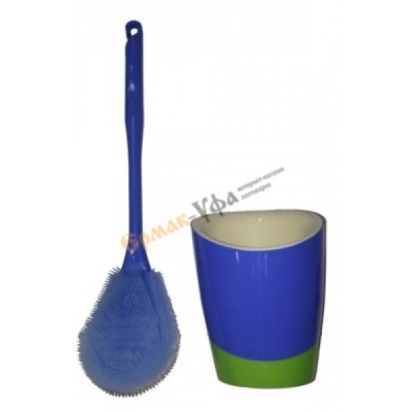 Ерш туалетный силиконовый (овальный)+подставка  /3/60