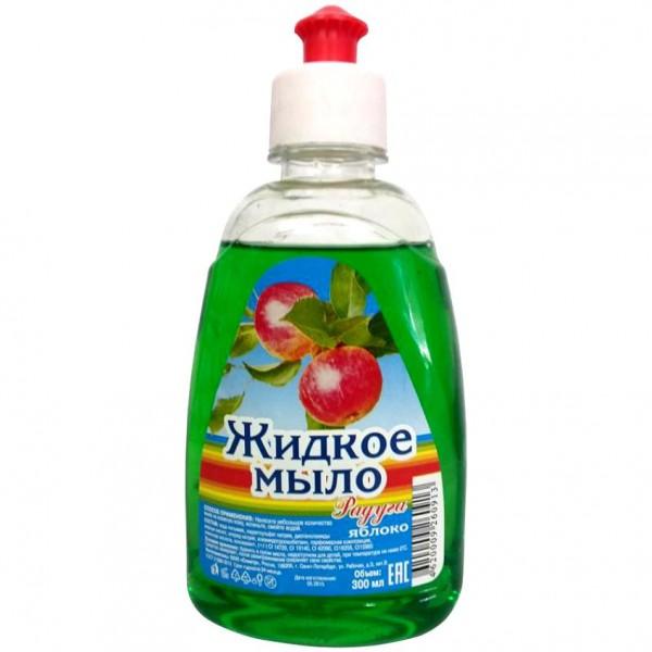 """Жидкое мыло """"Радуга"""" 1000мл Яблоко с дозатором"""