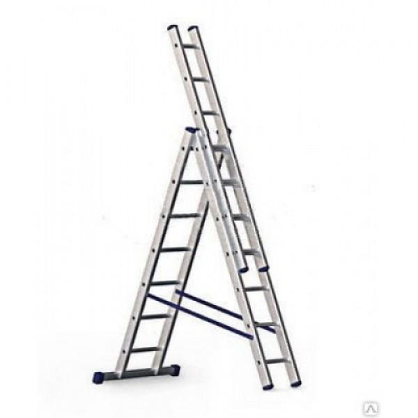 Лестница алюмин.двухсекцион. 2х6 ступ. выс. 1,75/2,85 вес 5,36кг стенка проф. 1,1мм 60х20мм UFUK