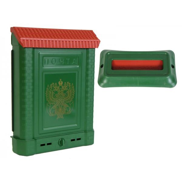 Ящик почтовый ПРЕМИУМ внешний (с замком) пластмас.( зелёный с орлом)