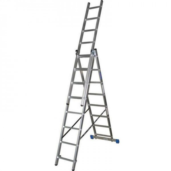 Лестница алюмин.трехсекц. 3х14 ступ. выс. 3,95/7,25/10,55 вес 24,10кг стен. проф. 1,5мм 67*20мм UFUK