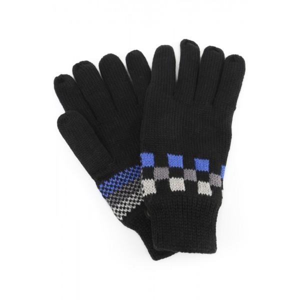 Перчатки вяз-е, однослойные, взрос. 20см, цвет черно-синий /1/600