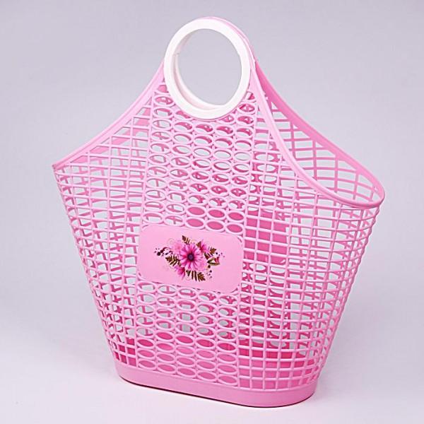 Корзина сумка Хризантема розовый м4623