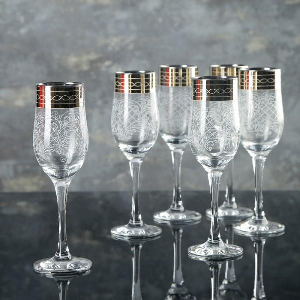 Набор 6бокалов для шампанского 200мл Люция