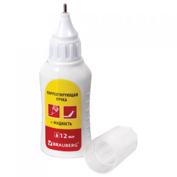 Корректор-ручка + корректирующая жидкость BRAUBERG 12мл 2в1