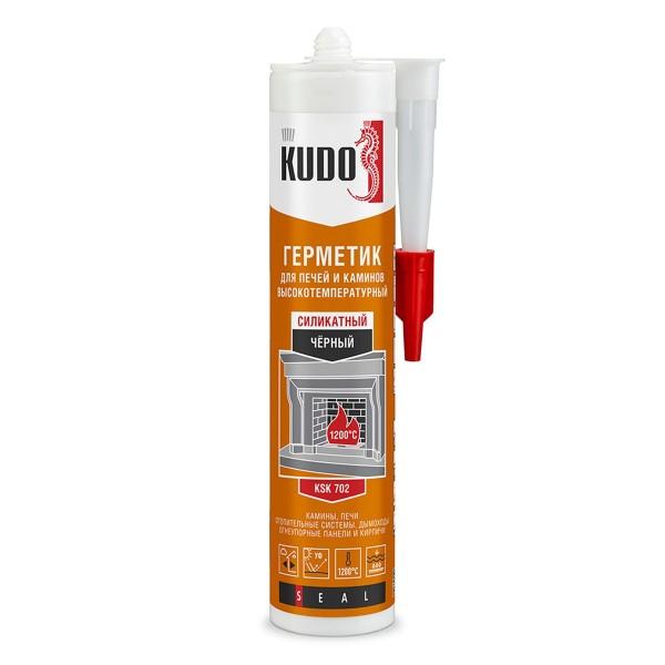 Герметик KUDO для каминов и печей 1200С силикатный черный 280мл от +5°С до +35°С, лето, KUSSK280FP-2