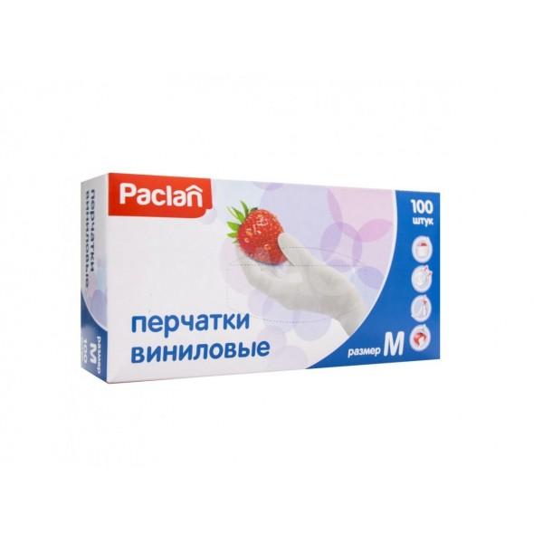 Перчатки виниловые 100шт р.М  PACLAN(1уп-50пар)