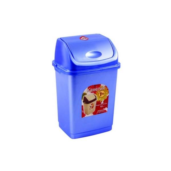 Ведро д/мусора 4л Камелия голубой перламутр