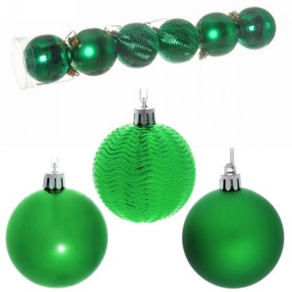 """Новогодние шары 6см (набор 6шт) """"Микс фактур"""",зеленый"""