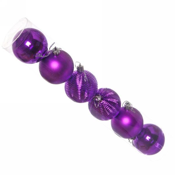 """Новогодние шары 6см (набор 6шт) """"Микс фактур"""",фиолетовый"""