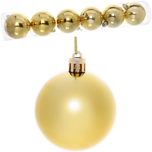 """Новогодние шары 6см (набор 6шт) """"Глянец"""",микс (золотой персик)"""