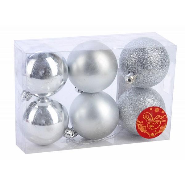 """Новогодние шары 6см (набор 6шт) """"Микс фактур"""",серебро"""