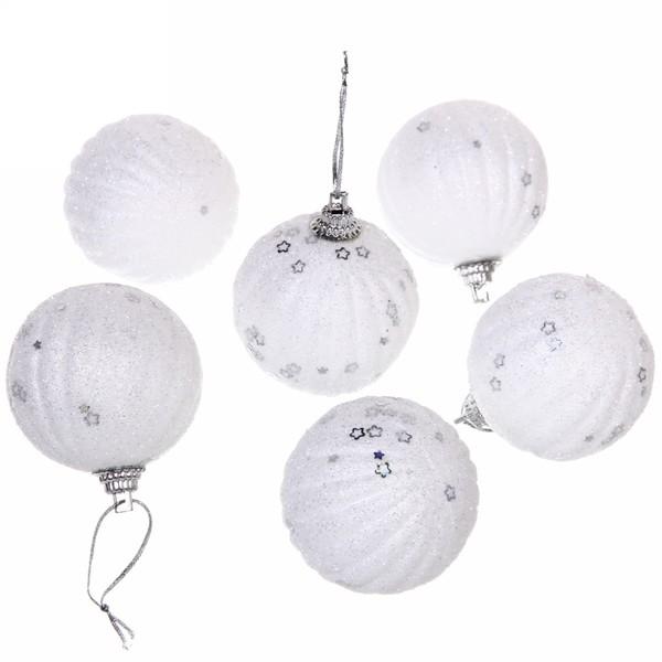 """Новогодние шары 5см (набор 6шт) """"Звездный час"""",белый"""