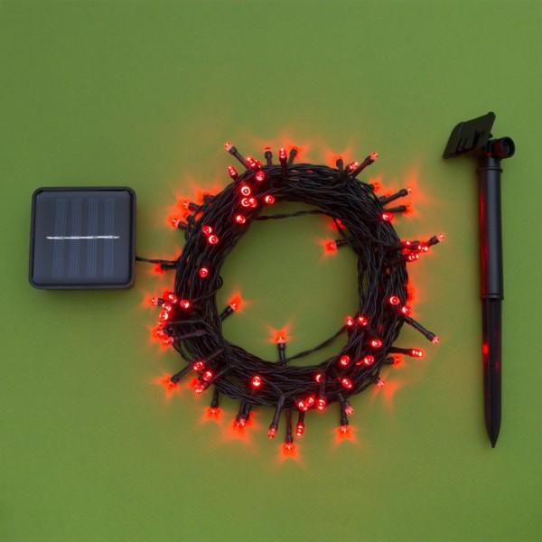 """Гирлянда """"Нить"""" уличная на солнечной батарее 12м,Н.Т. LED-100,2 режима,свечение красное"""