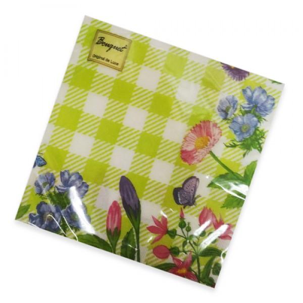 Салфетки бумажные Букет 33х33 3х сл 20шт Зеленая скатерть