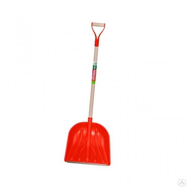 Лопата для снега красная 400*400 с металл. ручкой 1726-Ч