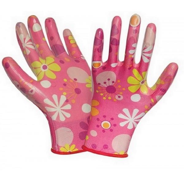 Перчатки с силиконовым покрытием цветочные