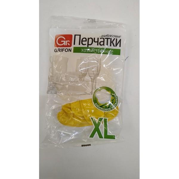 Перчатки латексные с хлопковым напыление GRIFON, р-р ХL