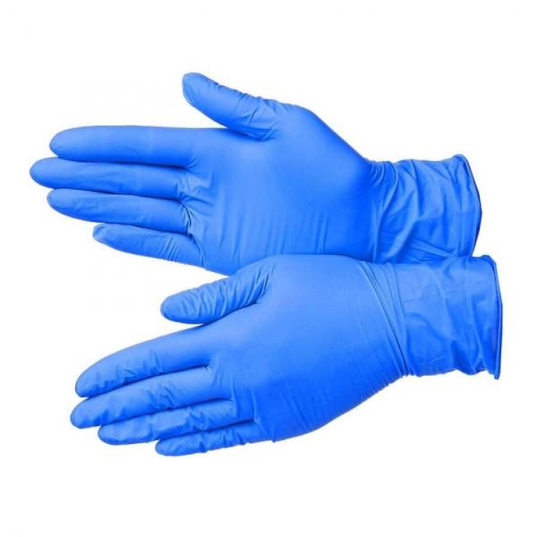 Перчатки нитриловые 100шт р.М голубые тонкие (1уп-50пар)