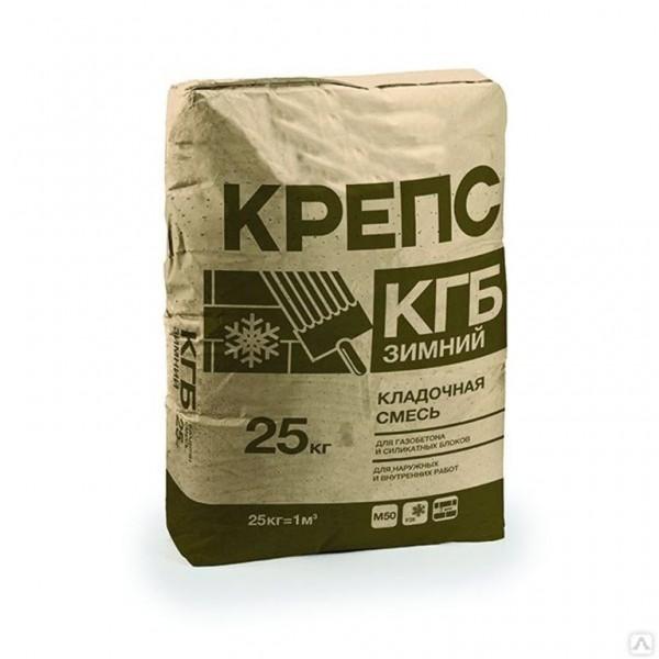 КРЕПС КГБ Кладочная смесь для блоков 25кг Газобетон